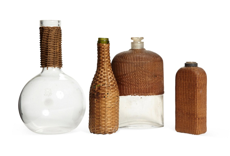Wicker Covered Bottle Collection, 4 Pcs.