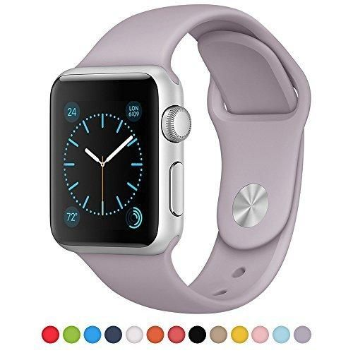 Apple Watch Band 38mm iSTYLE 38mm iWatch TPU Strap Soft Silicone Replacement Sport Band for Apple Watch iWatch - 38MM TPU Large Lavender