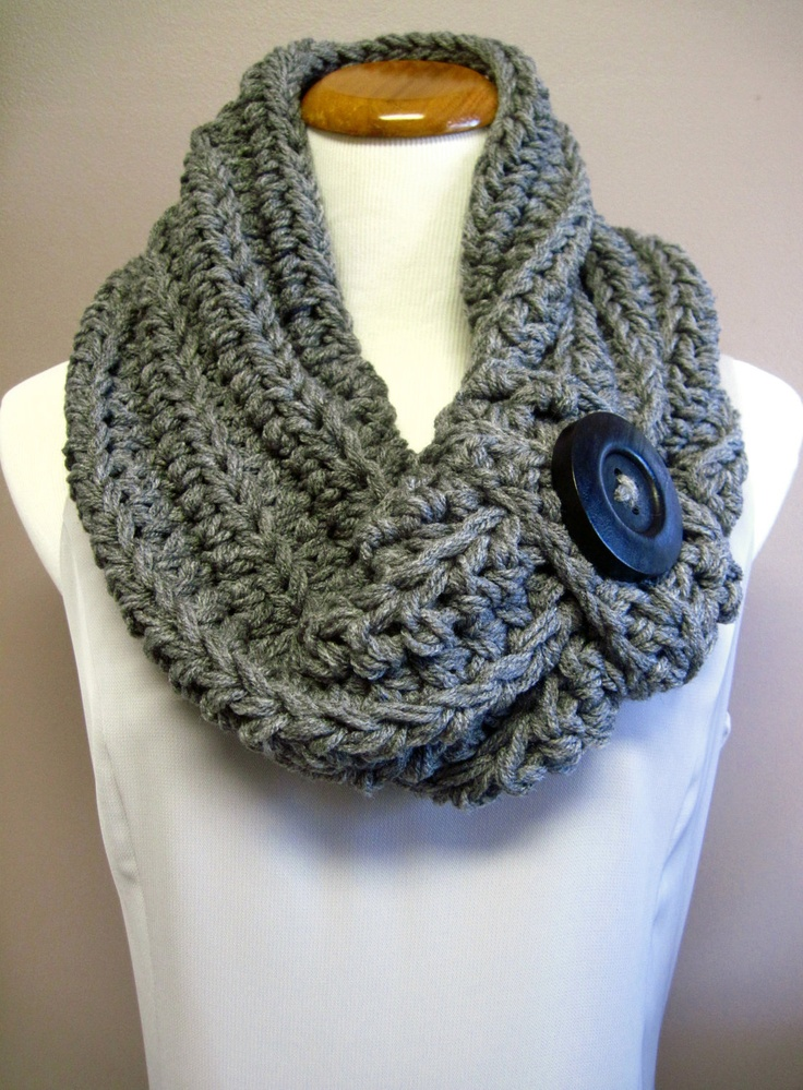 Chunky Crochet Cowl:  Gray with Black Wood Button, via Etsy