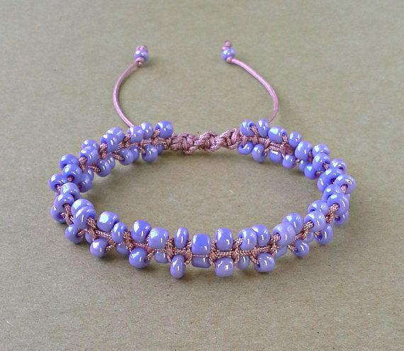 Seed Bead Bracelet Purple Macrame Bracelet Gift For Her