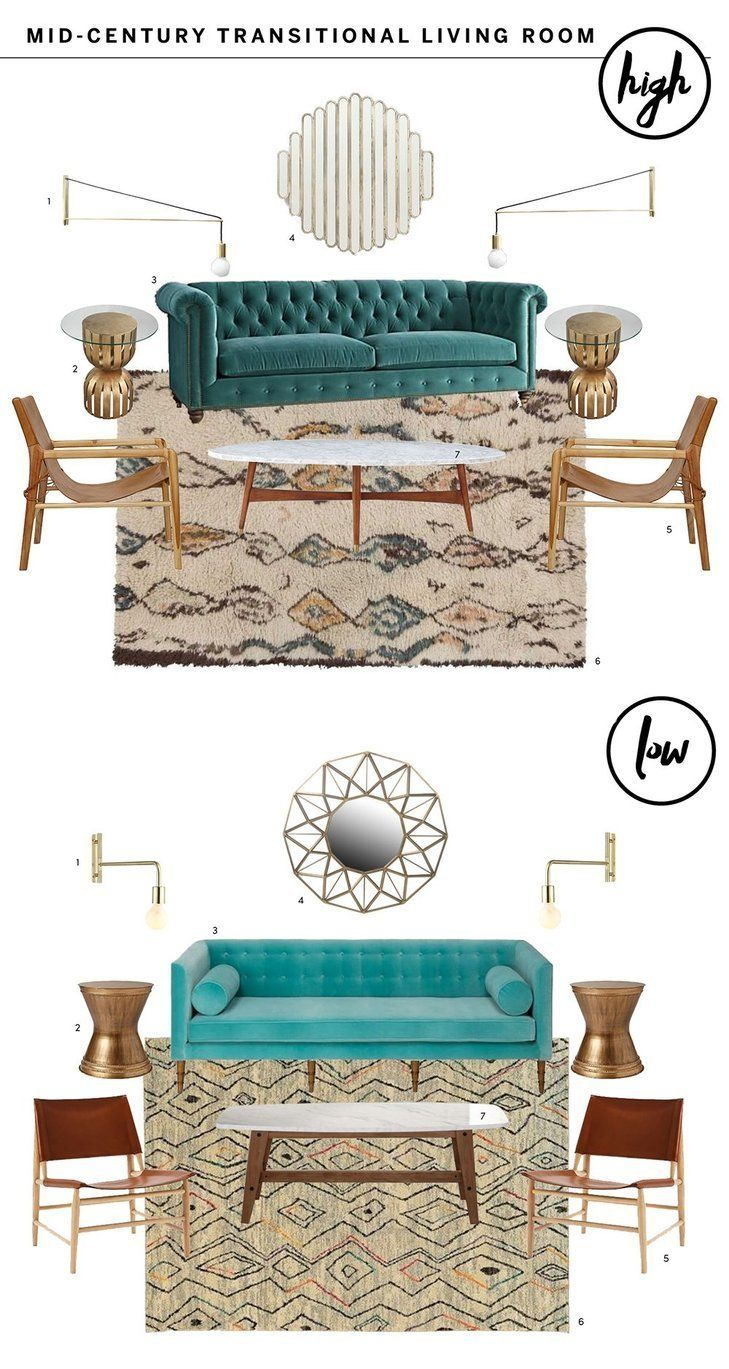 High & Low: An Eclectic Mid-Century Meets Transitional Living Room