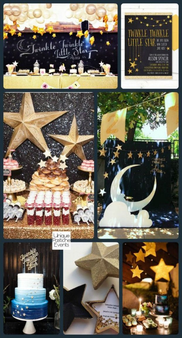 Twinkle Twinkle Little Star Baby Shower Would Be Pretty As A New Year S Eve Theme Too Newyear Moon Baby Shower Baby Shower Party Planning Star Baby Showers