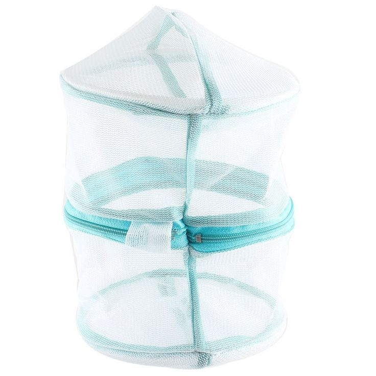 Unique Bargains Foldable Lingerie Delicates Bra Mesh Wash Bag Home Household Net Washing Laundry Basket Green White