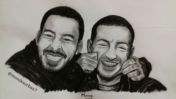 Mike Shinoda and Chester Bennington having fun