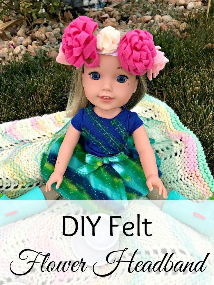 DIY American Girl Accessories, DIY WellieWishers Accessories, DIY Doll flower headband, Felt flower tutorial with pictures, Felt flower headband tutorial, WellieWishers, American Girl