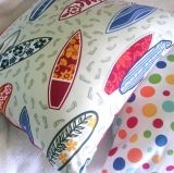 Cushion Covers Surfin' Safari | Cushion Covers | Retro Home Fabrics  Surfin Safari is available in White/Pink/Sand. One side of the cushion cover with be the surfboards the other side will be a contrasting colour. Limited stocks left. Cushion Covers & Wall Art are available & made to order @ www.retrohomefabrics.com.au
