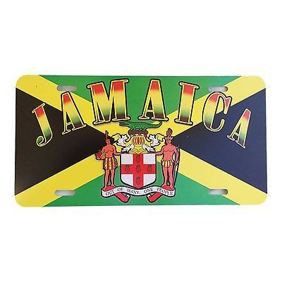 Jamaica License Plate - Note: Does not fit standard Euro Plates - Nice gift or for yourself, Jamaica Metal license plate flag emblem 12x6 inches or 30.5x15.25 CM - Looks good on the car. - One love, J