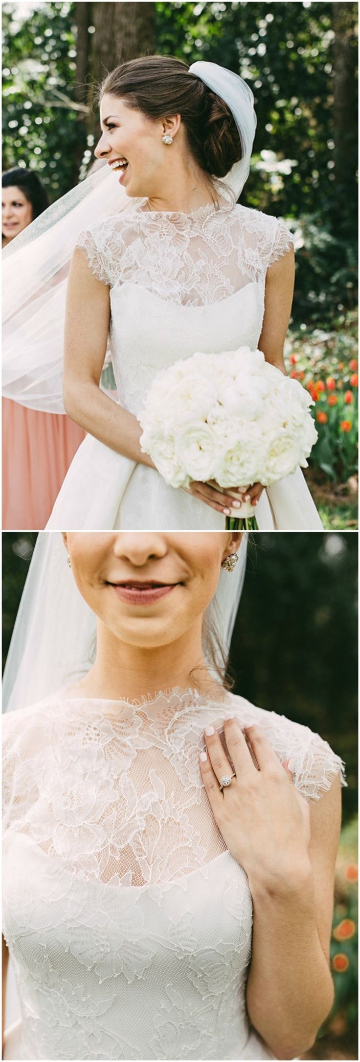 Traditional wedding dress, veil, classic bridal fashion, high-neck lace, up-do hairstyle // Kelly Ginn Photography