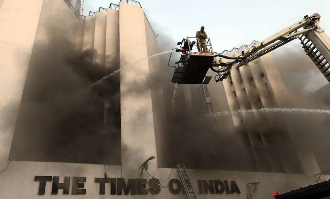 Breaking News !! Times of India Central Delhi ITO area building caught by fire this evening, This is second time in last two years.