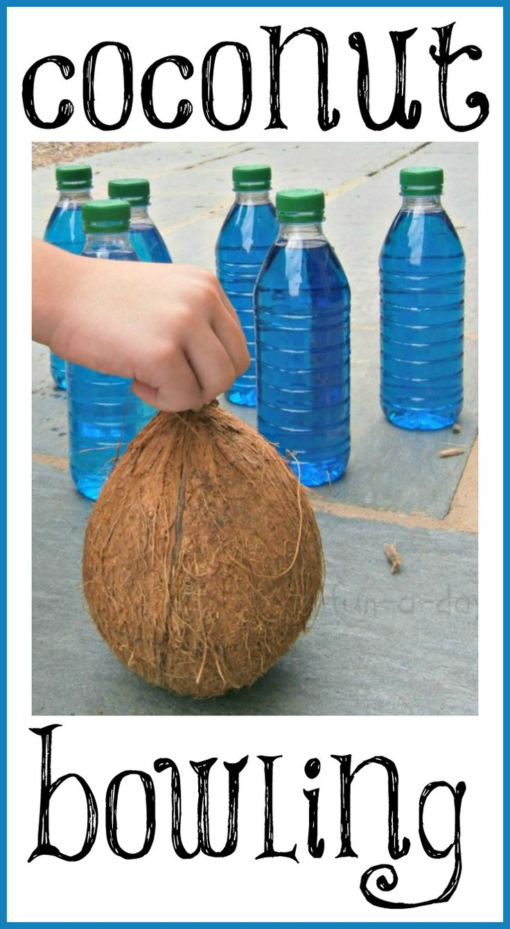 Add a fun twist to summer games with the kiddos -- go coconut bowling! A simple, fun outside game that'll have the kids giggling the whole time.