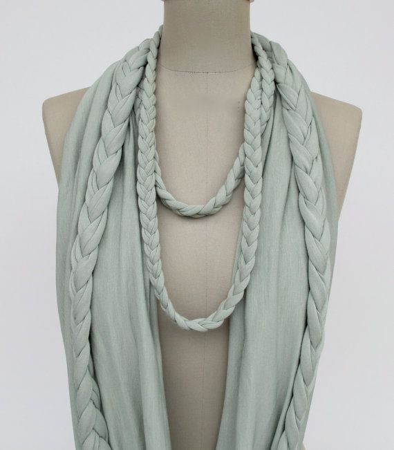 braided LOOP in light mint infinity scarf by StAnderswo on Etsy