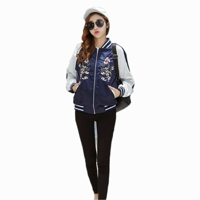 Hot Sale $18.99, Buy New Harajuku Flower Embroidered Jacket Women Bomber Jackets Contrast Color Floral Coats Fashion Black Blue Pink Outerwear