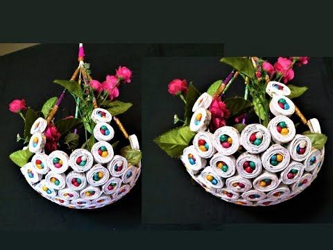 (78) Newspaper - Hanging Flower Basket / DIY Newspaper Crafts / Best out of Waste - YouTube