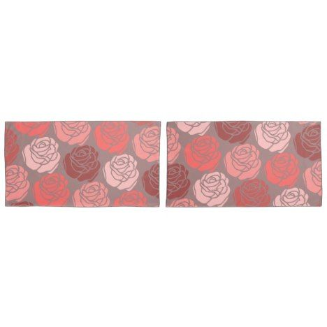 Bed of Roses Monochrome Brilliant Pink Pillow Case #wedding #pillowcases