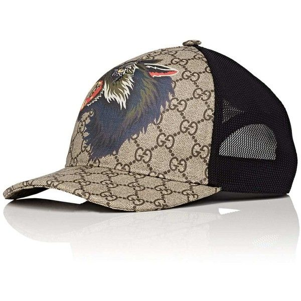 Gucci Men's Wolf-Print GG Supreme Baseball Cap (1.150 BRL) ❤ liked on Polyvore featuring men's fashion, men's accessories, men's hats, mens hats, gucci mens hat, mens ball caps and mens snapbacks
