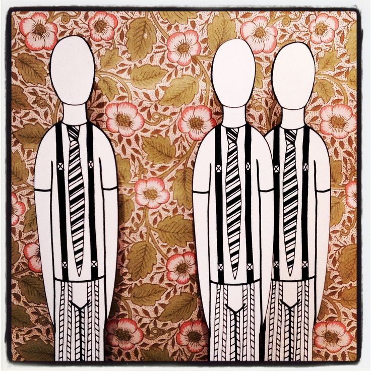 Wooden black and white figurines print