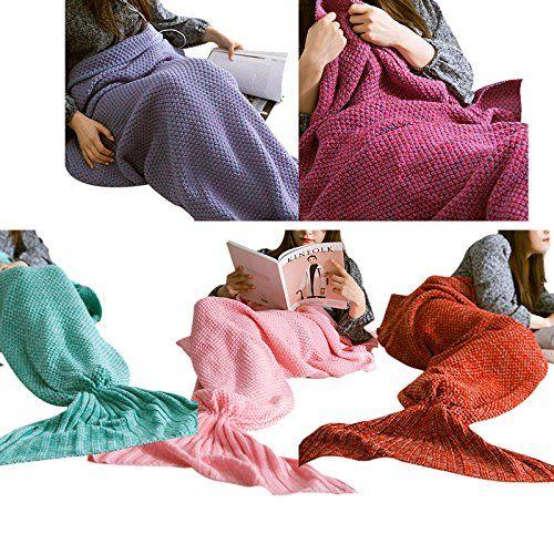Hrph Moda de punto de cola de la sirena, manta de cama hecha a mano de ganchillo chal suave adulto Saco de dormir Mantas: Amazon.es: Ropa y accesorios