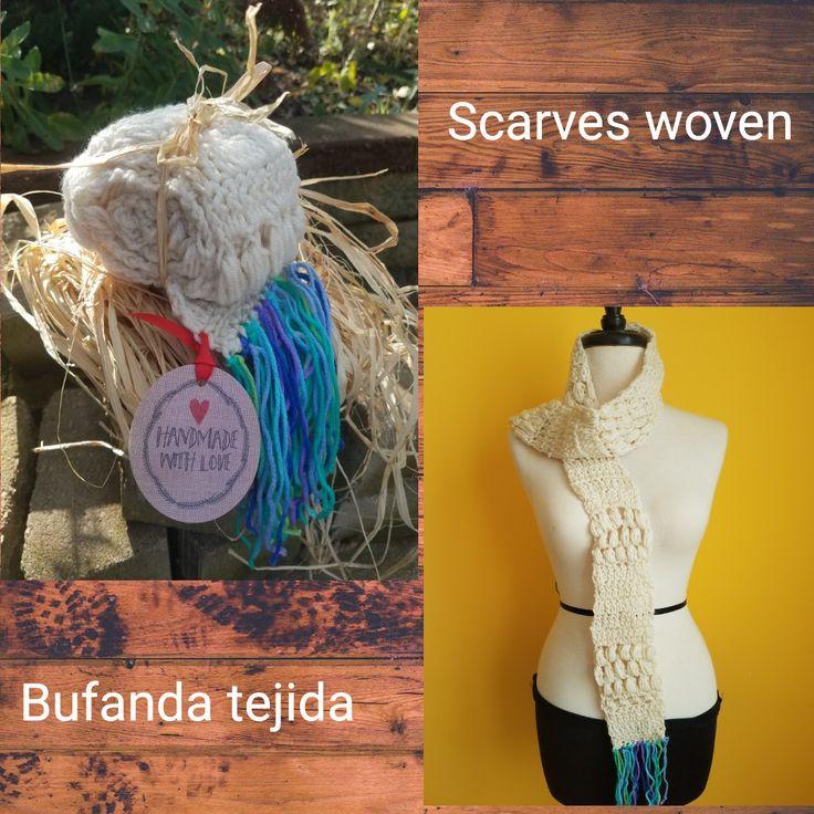 Scarve Woven Bufanda tejidas a mano Color:cream Size:Large Material:Cotton