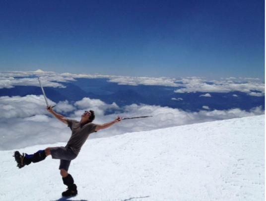 Happy man at Volcan Villarrica, in Pucon Chile.