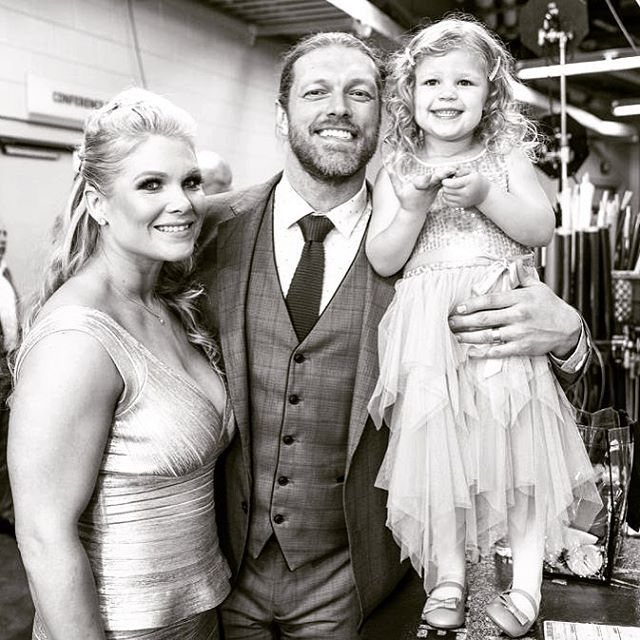WWE Hall of Fame Superstar Beth Phoenix (Beth Kocianski Copeland) with her husband WWE Hall of Fame Superstar Edge (Adam Copeland) and their oldest daughter Lyric #WWE #WWEHOF #WrestleMania #wwecouples