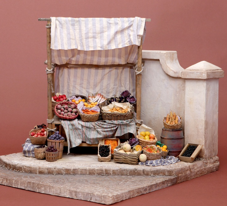 The French Market, by Polly Morris, 1996. Base constructed with Foamcore and textured with joint compound. Use a pencil to scribe paving and cobblestones before it dries.
