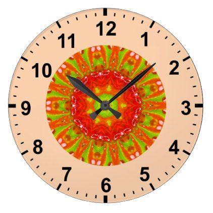 Bright Candy Fractal  Large Clock - red gifts color style cyo diy personalize unique