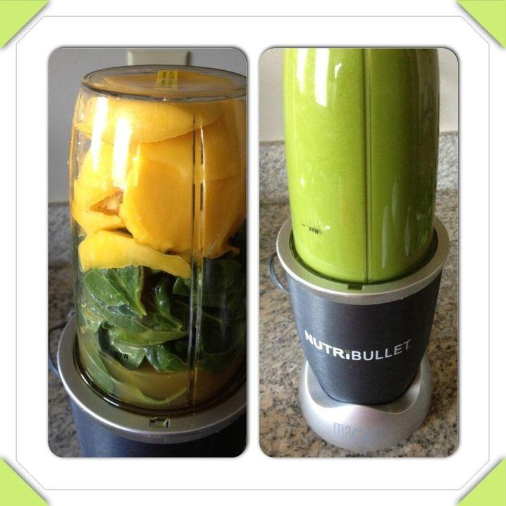 SPANGO!!! Mangoes, Spinach & Organic Apple Juice!! #NutriBlast #NutriBullet