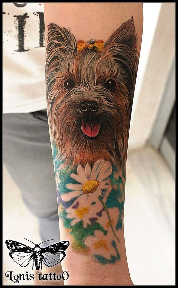 Yorkie tattoo,yorkshire terrier by Lonis-3rd prize best of day at the Frankfurt International tattoo Convention #lonistattoo www.lonistattoo.com
