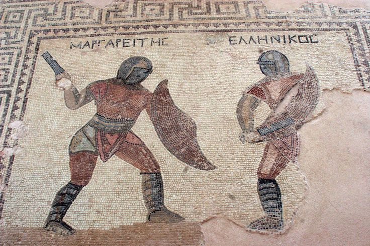 Mosaic from the House of the Gladiators, in Kourion even the Greeks was monomachoi (Gladiators)