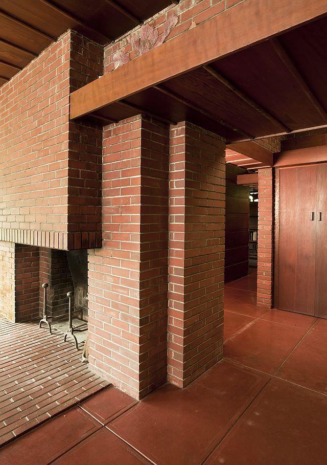 Fireplace and Hall - Weltzheimer/Johnson House / 534 Morgan Street, Oberlin, Ohio / 1948-1949 / Usonian / Frank Lloyd Wright --