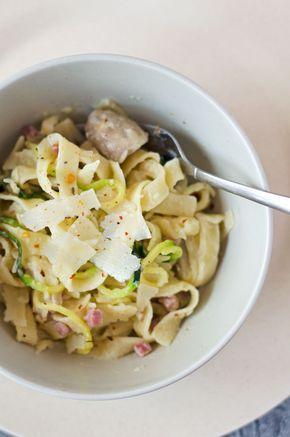 One-Pot-Pasta mit Champignons und Schinken