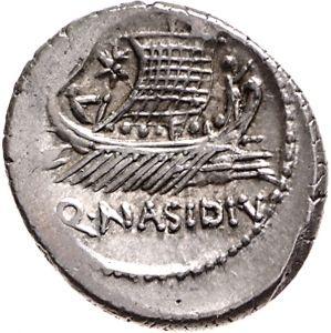 Denario - argento - Sicilia (44-43 a.C.) consolato di Q.Nasidius - una galera con rematori e vela spiegata vs.dx.- Münzkabinett Berlin