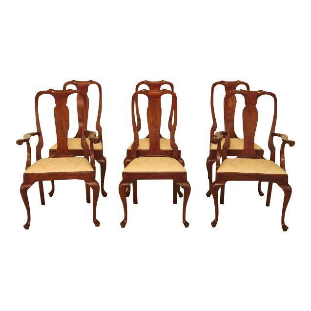 Set 6 Eetkamerstoelen.Henkel Harris Model 105 Cherry Dining Room Chairs Set Of 6