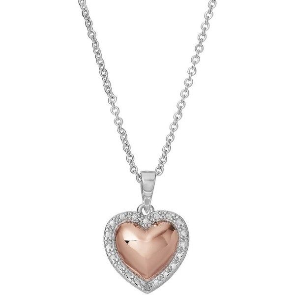 Delicate Diamonds Two Tone Sterling Silver Heart Pendant Necklace ($75) ❤ liked on Polyvore featuring jewelry, necklaces, pink, diamond necklace pendant, diamond pendant necklace, sterling silver heart pendant, diamond chain necklace and pink heart necklace