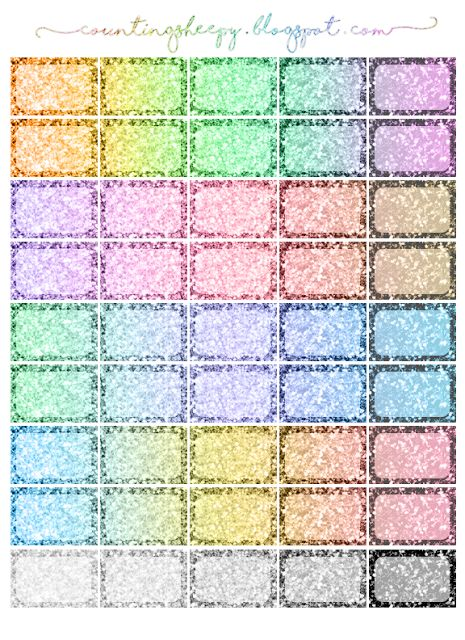 Counting Sheepy: Free Planner Printables - Rainbow Glitter Star Checklists and Halfboxes