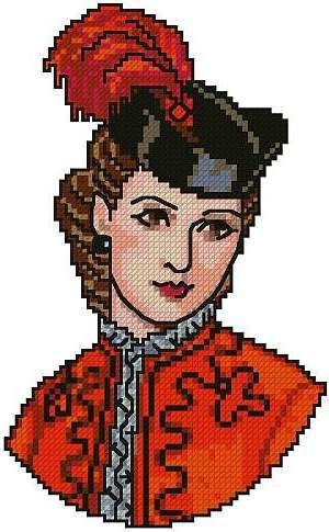 0 point de croix portrait femme victorienne en rouge - cross stitch portrait red victorian lady