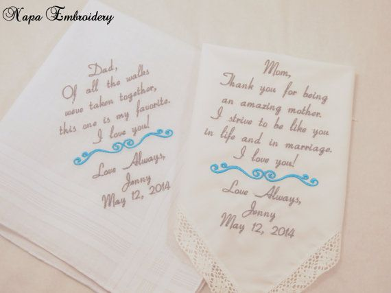 Wedding Gifts for Mom and Dad, Embroidered Wedding Handkerchiefs by Napa Embroidery, $49.50