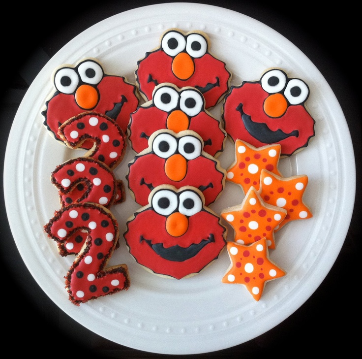 Decorated Elmo Cookies with numbers and stars via Etsy.   # Pin++ for Pinterest #