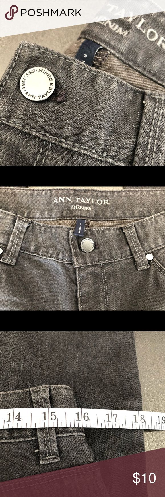 Ann Taylor Boot Cut Denim Jeans These grey Ann Taylor denim boot cut jeans are a break from the blue denim that resides in many wardrobes. Featuring silver hardware and two front  back pockets with a 32 inch inseam. These soft beauties have been worn less than 3 times and can be worn with sweaters, blouses, blazers, fitted tees and everything in between. Will steam iron prior to shipping. Priced to sell all serious reasonable offers accepted. No low ballers please. Ann Taylor Jeans Boot Cut