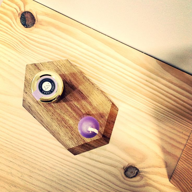 Mini wood tray with candlestick