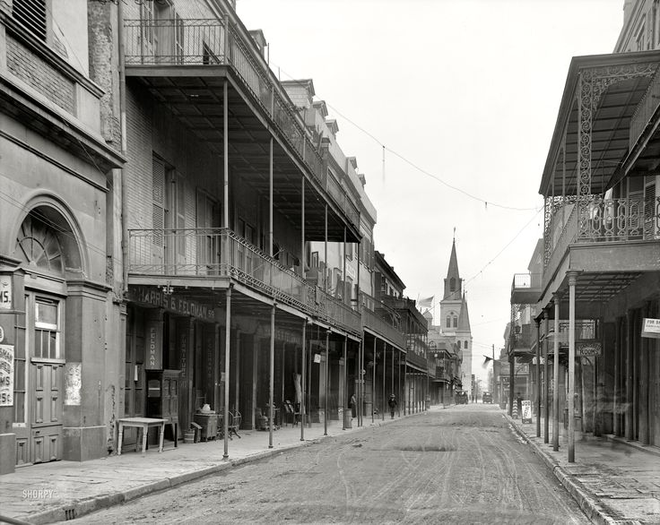 """New Orleans circa 1906. """"Chartres Street."""" Furnished Rooms and spectral pedestrians. 8x10 glass negative, Detroit Publishing Co."""