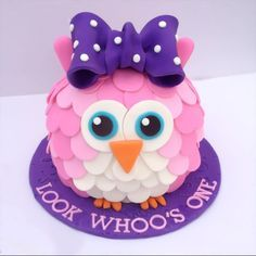 OMG!!!! @Khrista Baxter Do you think she could do this?!?!? It's perfect! 3D Owl Cake - Smash Cake - First Birthday - Owl Smash Cake