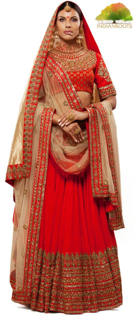 The Peeli Kothi Lehenga in Red by Sabyasachi at Indianroots.com