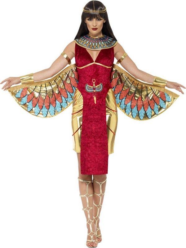 Disfraz diosa egipcia rojo mujer: Este disfraz de diosa egipcia incluye vestido, cuello y tiara (zapatos y peluca no incluidos).El vestido es dorado y rojo es corto con efecto terciopelo rojo. El vestido se coloca fácilmente y...