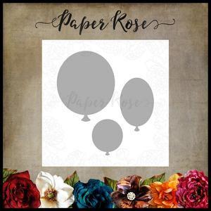 PAPER ROSE DIE Balloon Trio - birthday celebration 3 piece metal cutting die
