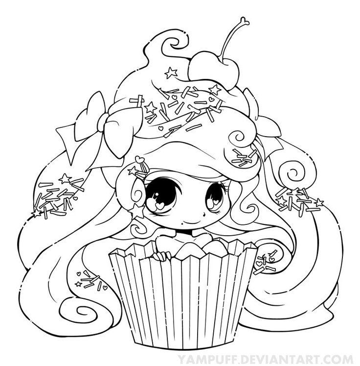 coloriage coloring cupcake fille kawaii cupcake desenho