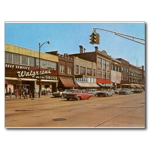 Mid-century Gary IN - 6th & Broadway Post Card.