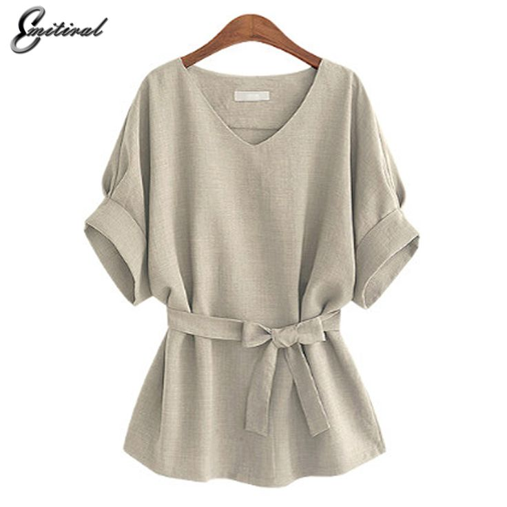 Summer 5XL Plus Size Women Shirts Linen Tunic Shirt V Neck Big Bow Batwing Tie Loose Ladies Blouse Female Top For Tops Buy now for $ 9.66 & get FREE Shipping worldwide    #f4f #tbt #followme #like4like #shopping #fashion #style #shoppingaddict #followme #musthave #ootd #fashionmodel
