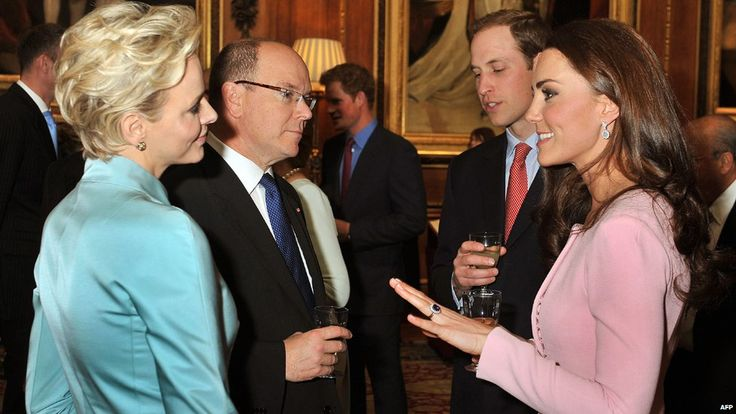 Princess Charlene and Prince Albert II of Monaco with the Duke and Duchess of Cambridge