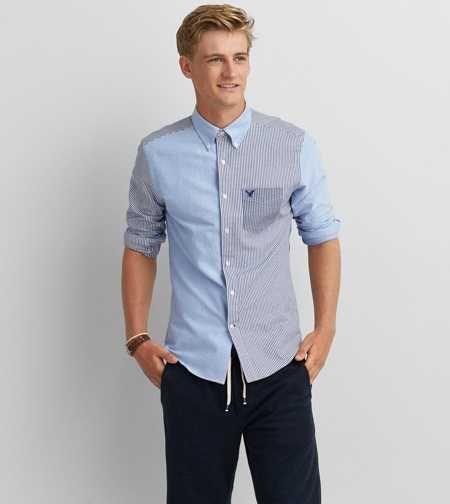 AEO Oxford Colorblock Button Down Shirt